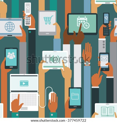Human hands holding  smart devices seamless pattern - stock vector