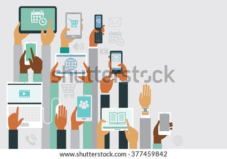 Human hands holding various smart devices copyspace design - stock vector