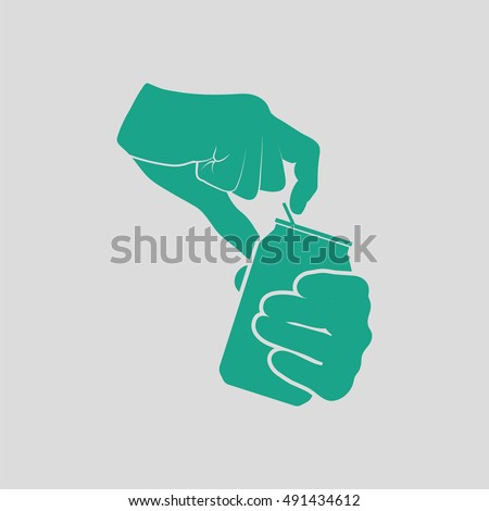 Human hands opening aluminum can icon. Gray background with green. Vector illustration.
