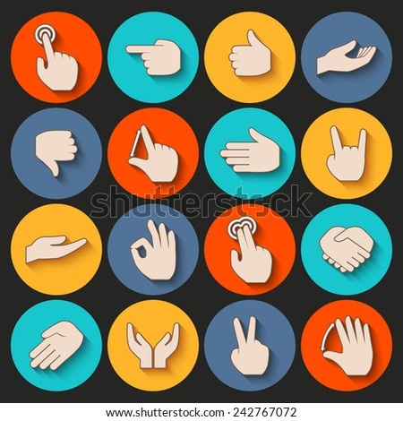 Human hands pointing holding showing gestures icons set isolated vector illustration - stock vector