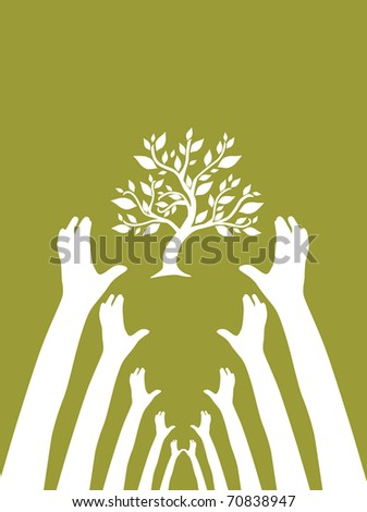 human hands protect tree, symbol of nature - stock vector