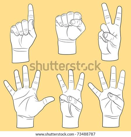 Human hands set(vector, CMYK) - stock vector