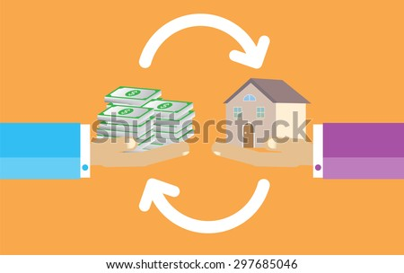 Human Hands with Dollar Money and House. Flat style concept design illustration. Real estate concept vector illustration. money exchange home. infographics. orange background - stock vector