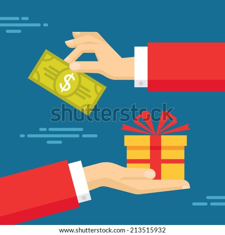 Human Hands with Dollar Money and Present Gift. Flat style concept design illustration. - stock vector