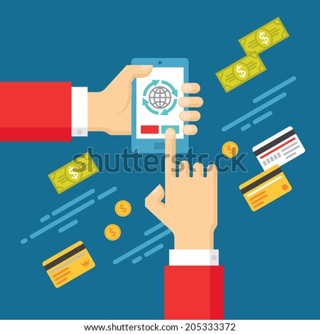 Human Hands with Mobile Phone with Touch Screen - Concept Illustration in Flat Design Style for presentation, booklet, website and other design projects. - stock vector