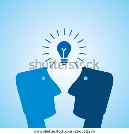 human head  and bulb -  idea concept - stock vector