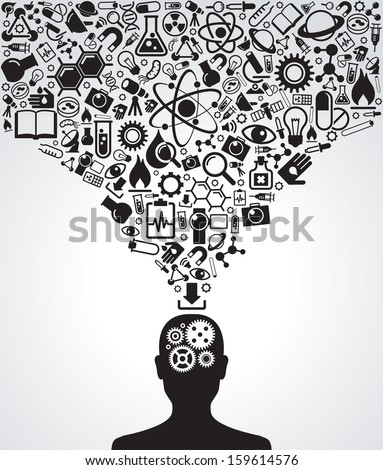 Human head and icons of science. The concept of scientific discoveries. The idea of learning. Modern technological solutions - stock vector