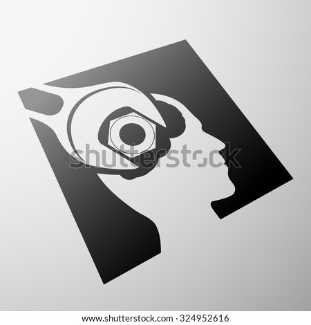 Human head and nut. Stock vector image. - stock vector