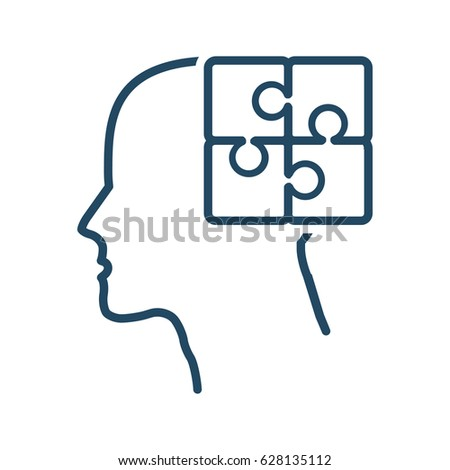 human head puzzle vector icon meaning stock vector 628135112 rh shutterstock com mechanical vector medical meaning