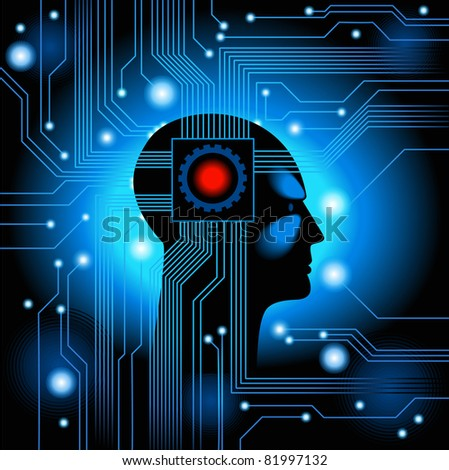 Human Head.figure the concept of artificial intelligence - stock vector