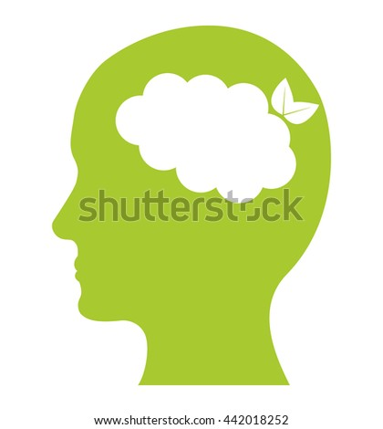 human head icon. Think green concept. Vector graphic