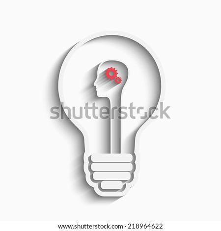 Human head in a bulb creating a new idea. Creative Idea. vector. - stock vector