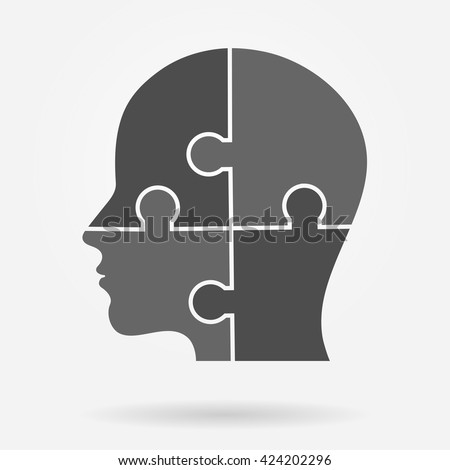 Human head made of puzzle pieces icon - stock vector