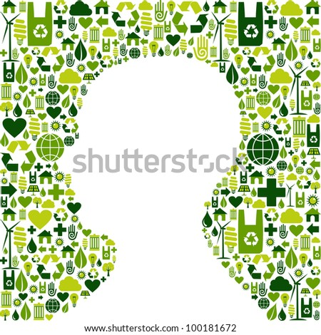 Human head silhouette made with green icons set background. Vector file available. - stock vector