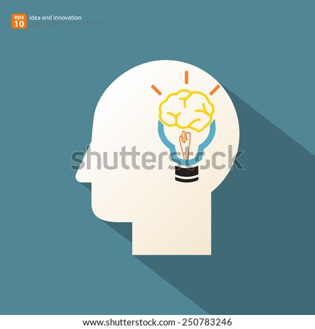 Human head silhouette with brain - idea and innovation long shadow concept vector design - stock vector
