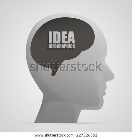 Human head silhouette with brain idea, Head brain 3d icon, template design element, Vector illustration - stock vector