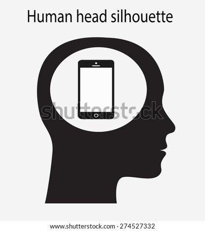 HUman head silhouette with mobile phone in the brain / Human head vector illustration - stock vector