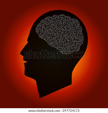 Human Head Silhouette with Poly Mesh Brain - stock vector