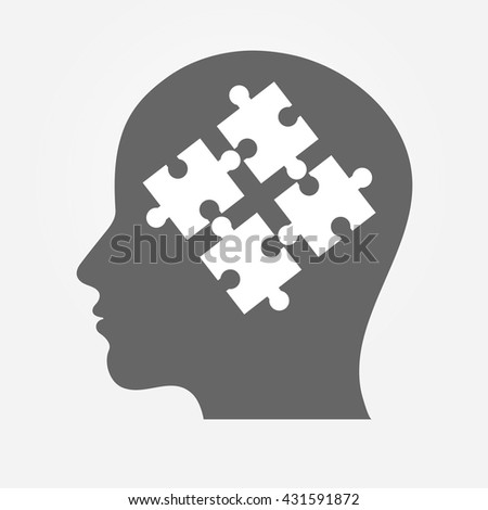 Human head silhouette with puzzle pieces - stock vector
