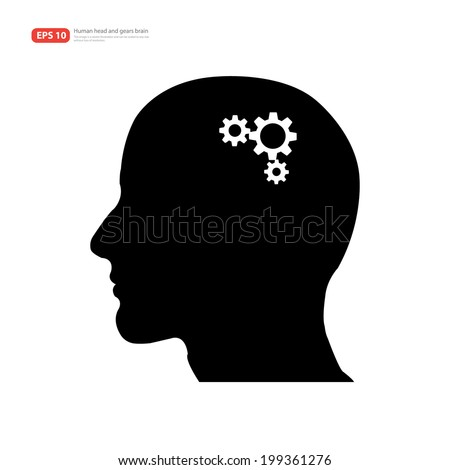 Human head silhouette with set of gears as a brain - idea and innovation concept - stock vector