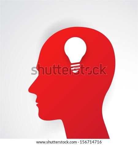 Human head thinking a new idea. Creative Idea. vector. - stock vector