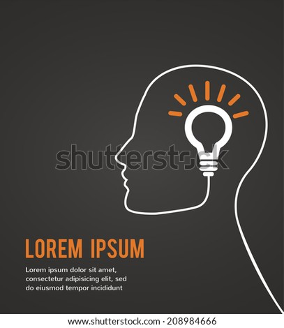 human head thinking a new idea on black background - stock vector