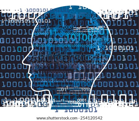 Human Head with binary codes. Human Head silhouette with binary codes. Concept for information technology.Vector   Illustration. - stock vector