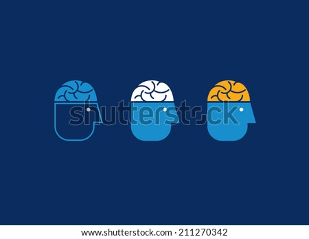Human head with brain. Abstract icons. - stock vector