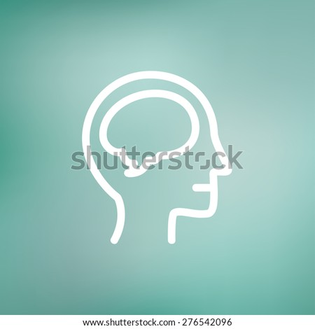 Human head with brain icon thin line for web and mobile, modern minimalistic flat design. Vector white icon on gradient mesh background. - stock vector
