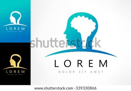 Human head with brain logo - stock vector