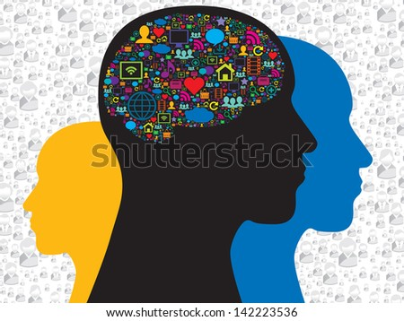 Human head with brain on the social media icons - stock vector