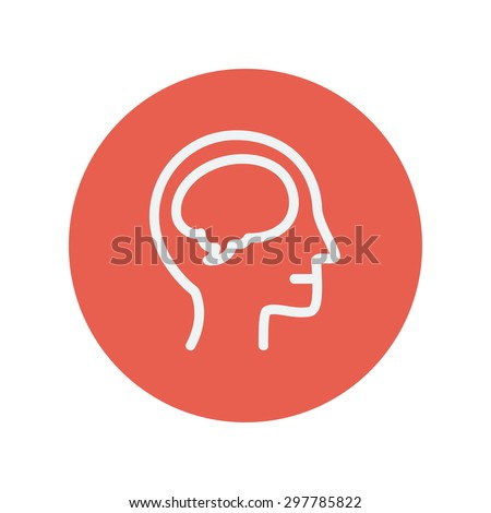 Human head with brain thin line icon for web and mobile minimalistic flat design. Vector white icon inside the red circle - stock vector