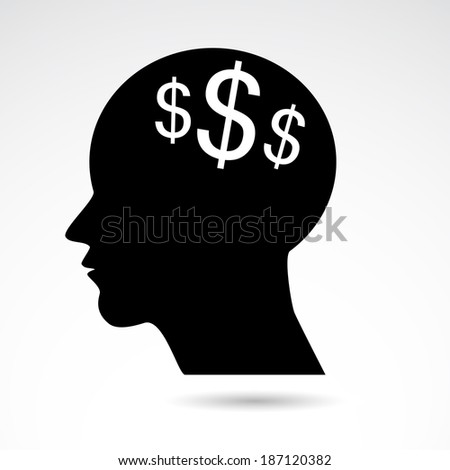 Human head with dollar symbol icon. Vector illustration. - stock vector