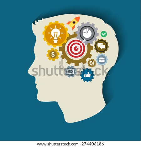 Human head with gears and icons. Concept of thinking. Flat illustration.