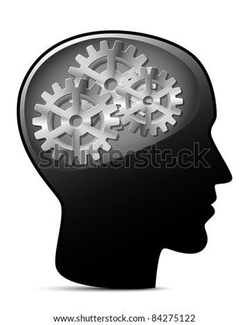 Human head with gears. Vector illustration - stock vector