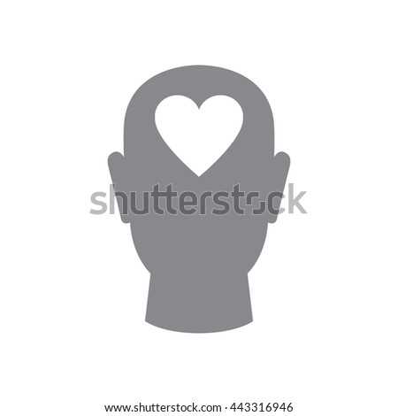 Human head with heart vector icon. - stock vector