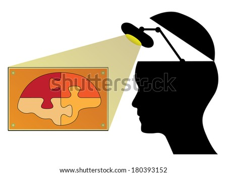 Human head with lamp and brain, creative knowledge concept design. - stock vector