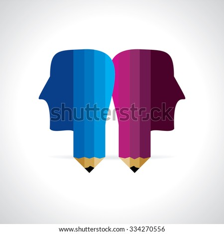 human head with pencil vector illustration  - stock vector