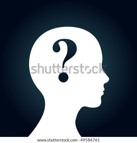 "Human head with question mark symbol. ""Doubt"" concept."