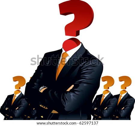 "Human head with question mark symbol. ""Think"" concepts. - stock vector"