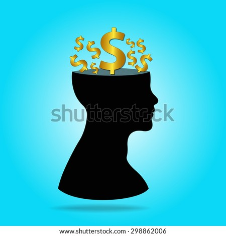Human head with thinking about money for business concept,vector illustration - stock vector