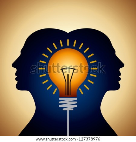 Human heads with Bulb symbol Business concepts - stock vector