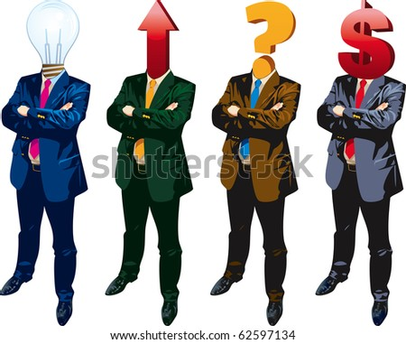 "Human heads with question mark, dollar, arrow and bulb symbol. ""Dream team"" concept. - stock vector"