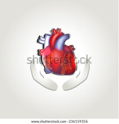 Human heart health care symbol abstract design - stock vector