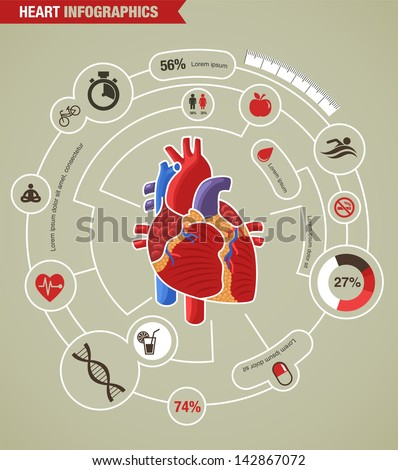 Human Heart health, disease and attack infographic - stock vector