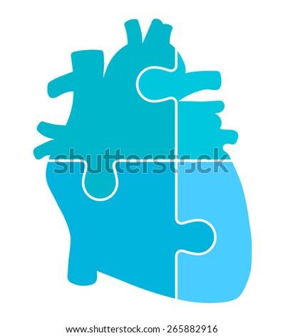Human Heart Jigsaw Puzzle Pieces Abstract Vector - stock vector