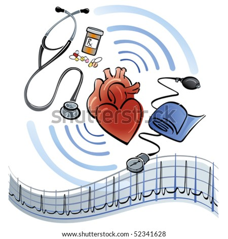 Human heart surrounded by a stethoscope, medicine, blood pressure meter and EKG graph. - stock vector