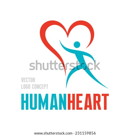 Human heart - vector logo concept illustration. Human character with heart symbol - vector logo template. Valentine's Day concept sign. Design element.  - stock vector