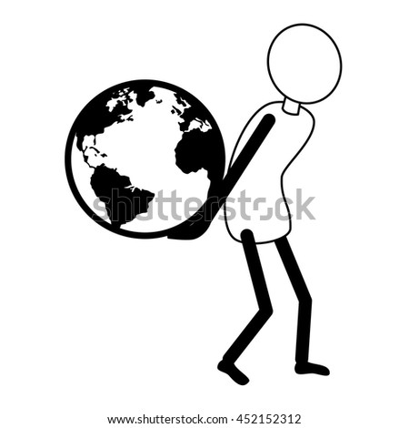 Human holding earth planet pictogram design, vector illustration graphic. - stock vector
