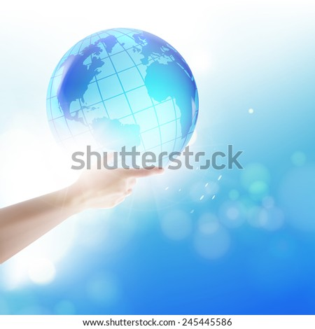 Human holding globe on his hands over blue sky background. Vector illustration.